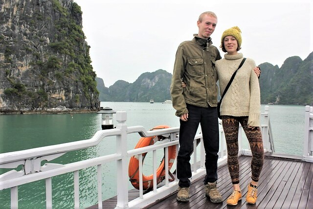 Charlie and Luke at Halong Bay in Vietnam - Charlie on Travel